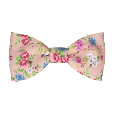 Floral Champagne Pink Wedding Bow Tie