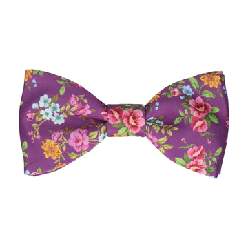 Floral Orchid Purple Wedding Bow Tie