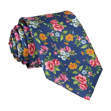 Floral Navy Blue Wedding Tie