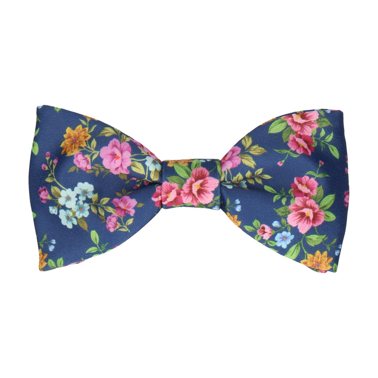 Floral Navy Blue Wedding Bow Tie