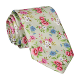 Floral Sage Green Wedding Tie
