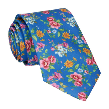 Floral Royal Blue Wedding Tie