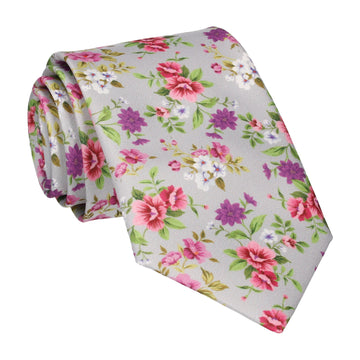 Floral Silver Grey Wedding Tie