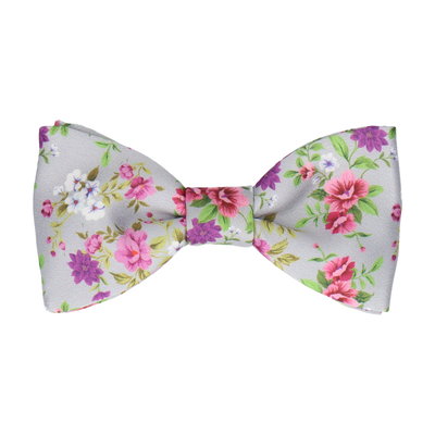 Floral Silver Grey Wedding Bow Tie