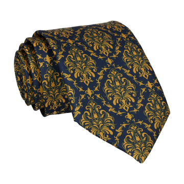 Navy Blue & Gold Damask Tie
