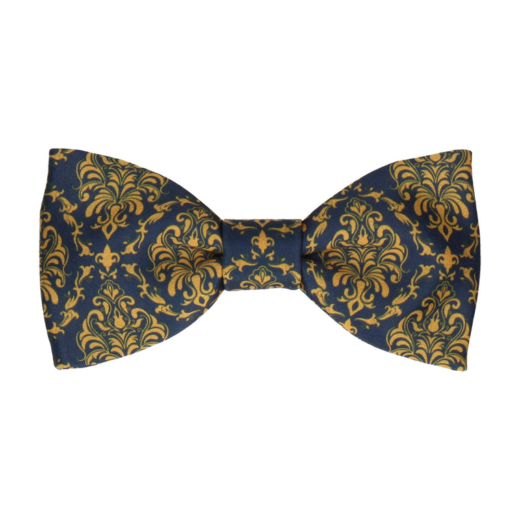Navy Blue & Gold Damask Bow Tie