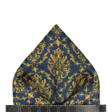 Navy Blue & Gold Damask Pocket Square