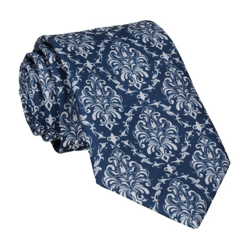 Navy Blue & Silver Grey Damask Tie