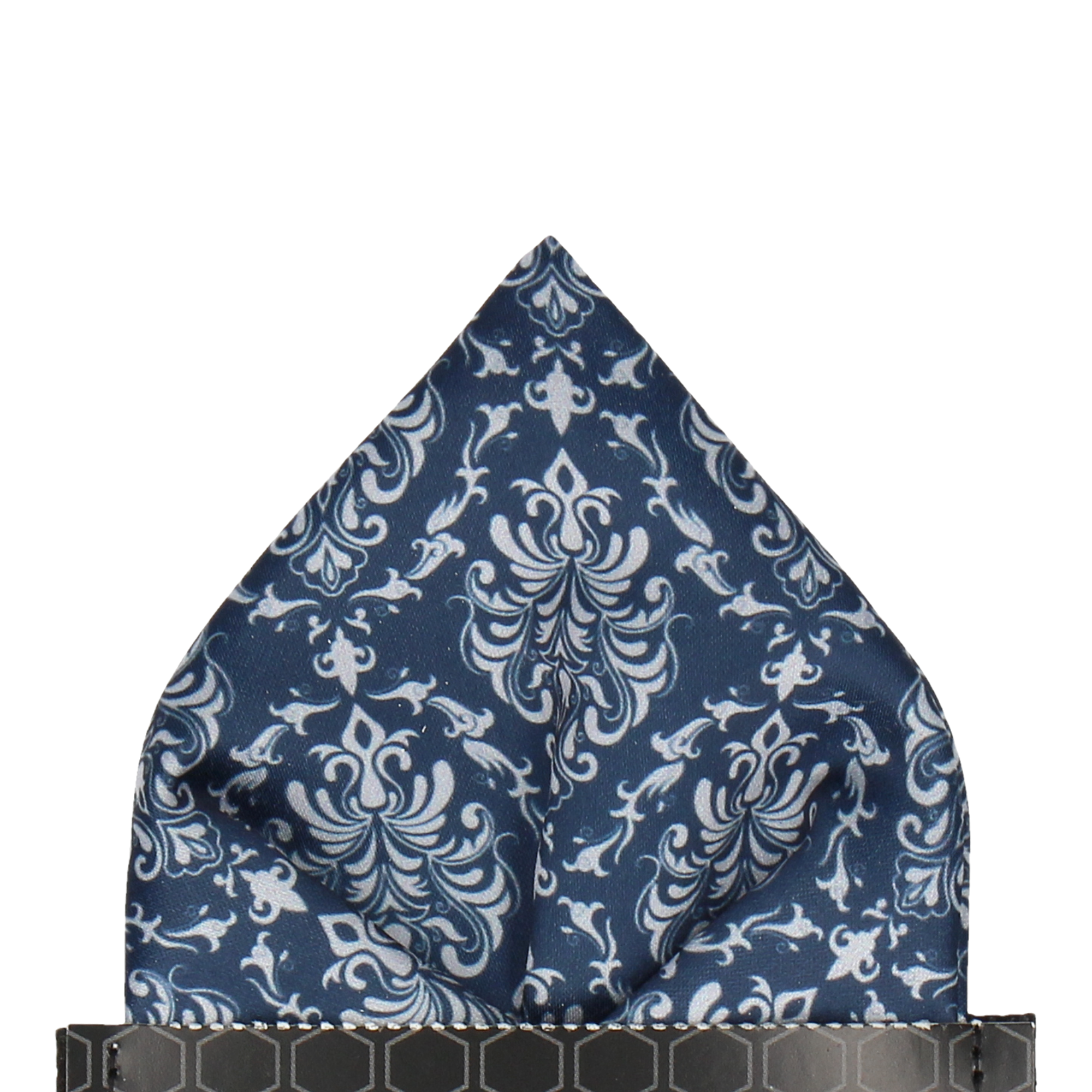 Damask in Navy & Platinum Pocket Square