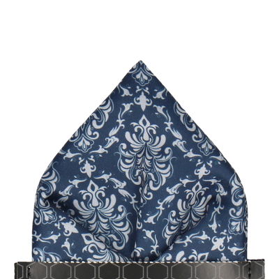 Navy Blue & Silver Grey Damask Pocket Square