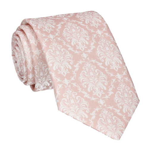 Damask in Pink Champagne & White Tie