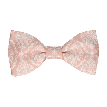 Pink & White Damask Bow Tie
