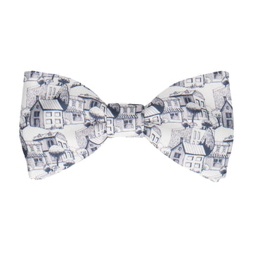 Navy & White Town Pattern Bow Tie