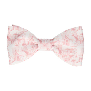 Pink & White Town Pattern Bow Tie