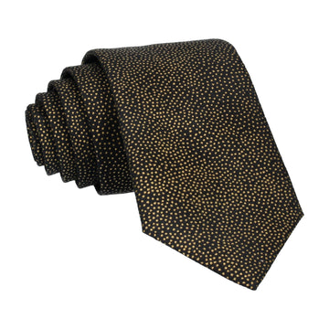 Gold Metallic Dots Black Tie