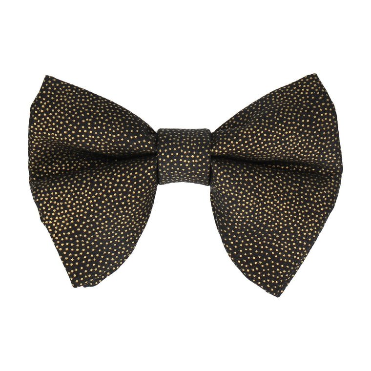 Gold Metallic Dots Black Large Evening Bow Tie