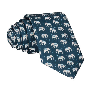 Indian Elephants Blue Tie