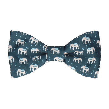 Indian Elephants Blue Bow Tie