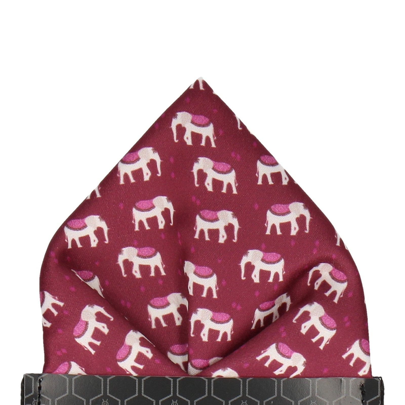 Indian Elephants Mulberry Pocket Square
