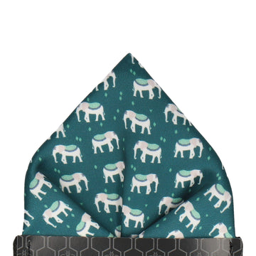 Indian Elephants Evergreen Pocket Square