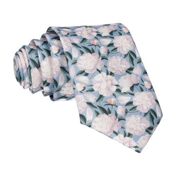 Dusty Blue Peonies Wedding Tie