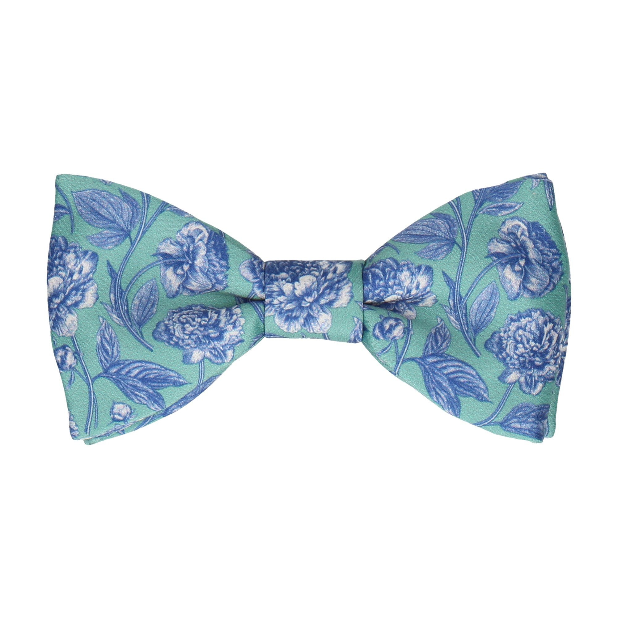Green & Blue Floral Sketch Bow Tie