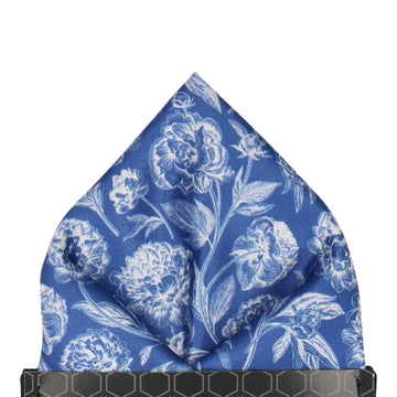 Blue & White Floral Sketch Pocket Square