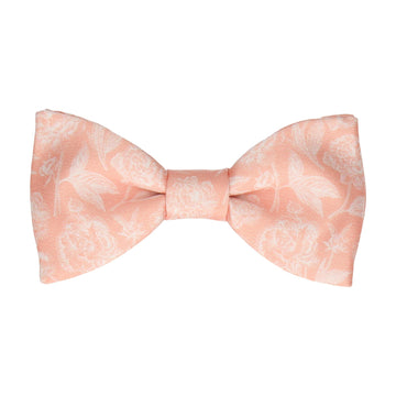 Coral & White Floral Sketch Bow Tie