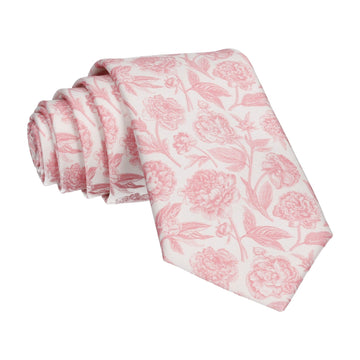 Cream & Pink Floral Sketch Tie