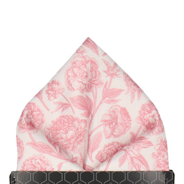 Cream & Pink Floral Sketch Pocket Square