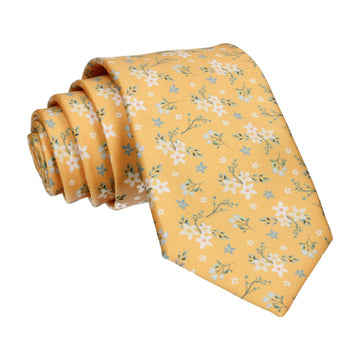 Yellow Small Flower Floral Sketch Tie