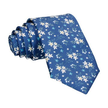 Blue Small Flower Floral Sketch Tie