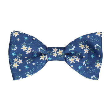 Blue Small Flower Floral Bow Tie