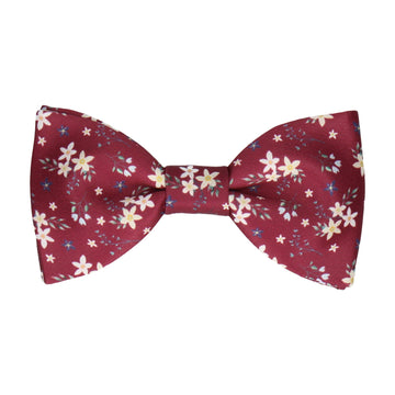 Burgundy Small Flower Floral Bow Tie