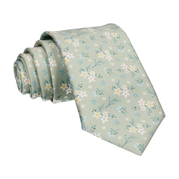Sage Green Small Flower Floral Sketch Tie