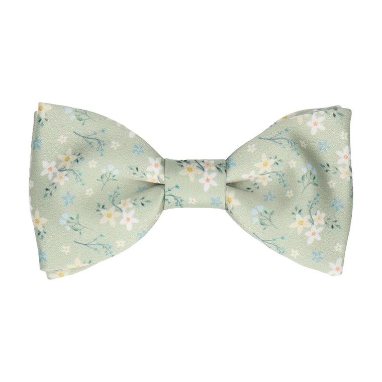 Sage Green Small Flower Floral Bow Tie