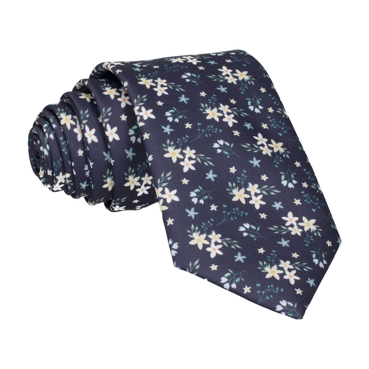 Navy Blue Small Flower Floral Sketch Tie