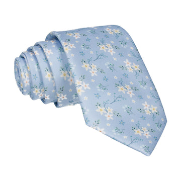 Sky Blue Small Flower Floral Sketch Tie