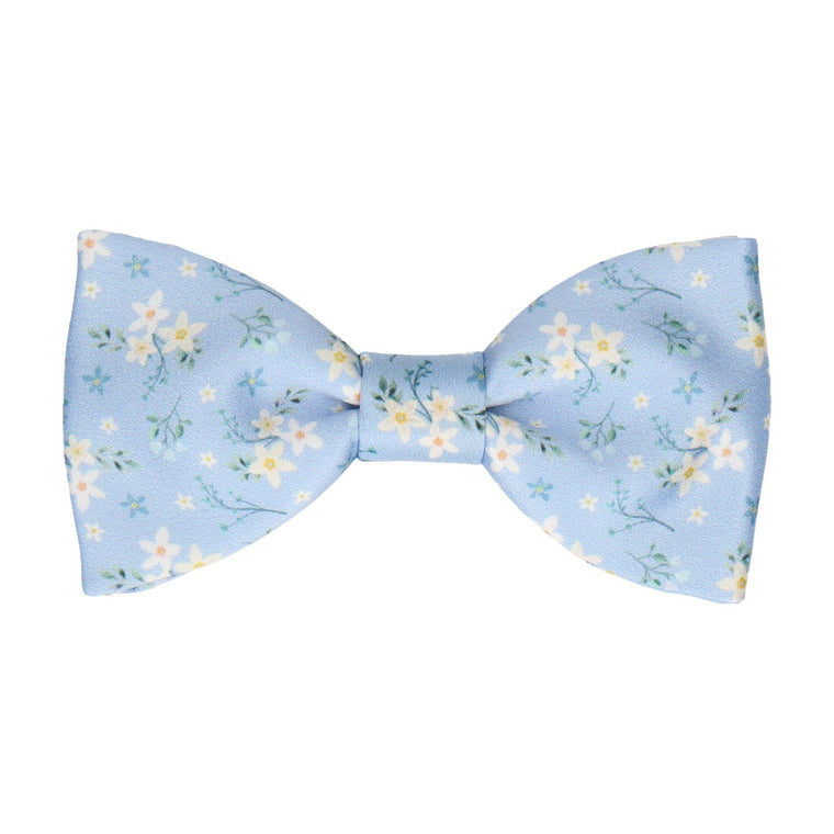Sky Blue Small Flower Floral Bow Tie