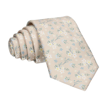 Champagne Small Flower Floral Sketch Tie