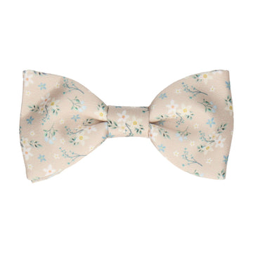 Champagne Small Flower Floral Bow Tie