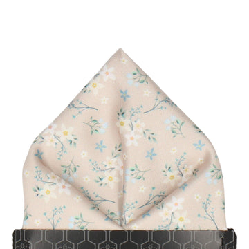 Champagne Small Flower Floral Pocket Square