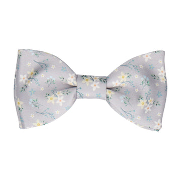 Grey Small Flower Floral Bow Tie