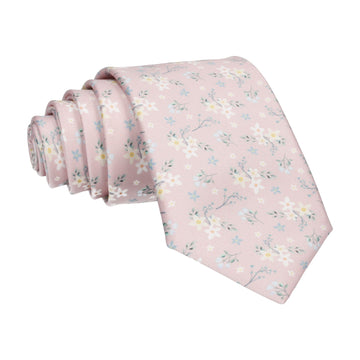 Dusty Pink Small Flower Floral Sketch Tie