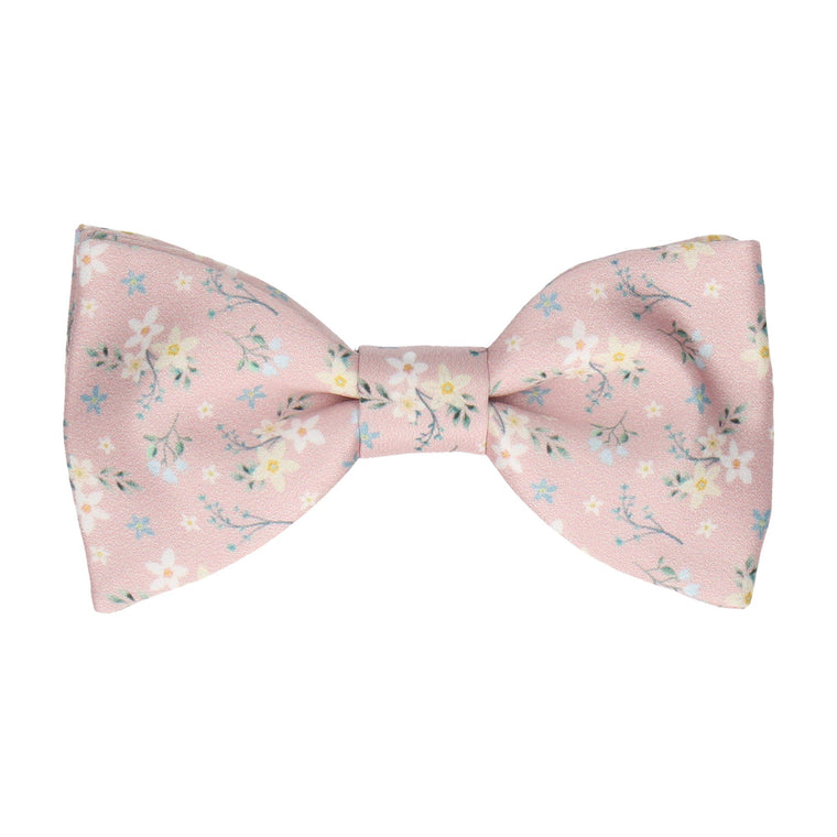 Dusty Pink Small Flower Floral Bow Tie