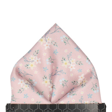 Dusty Pink Small Flower Floral Pocket Square