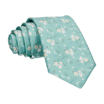 Sea Green Small Flower Floral Sketch Tie