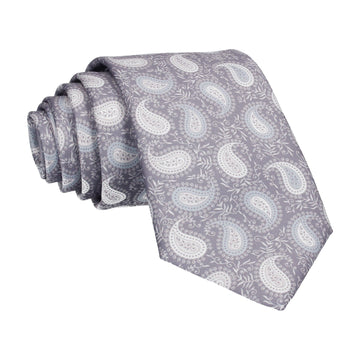 Grey & White Floral Paisley Tie