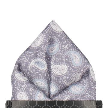 Grey & White Floral Paisley Pocket Square