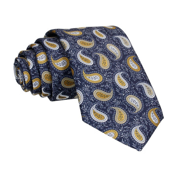 Gold Yellow Floral Paisley Navy Tie